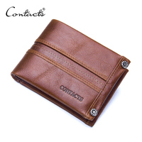CONTACT'S Cowhide Leather Wallet Supplier Bifold Slim Men Wallet with Zip Coin Front Pocket