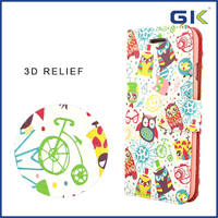 [GGIT] 3D Relief Owl Pattern Design Holster TPU+PU Phone Case For IPhone 6 Flip Cover