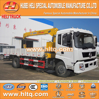 DONGFENG 4x2 6.3 tons straight arm dump truck with crane 190hp hot sale