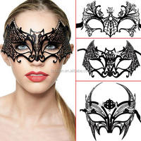 Hotsale sexy Christmas party Black Hollow metal mask with diamond