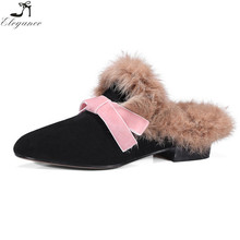 Handmade Fall Ladies Sharp Toe Pink Bowknot Black Shoes Suede Slip On Backless Loafers Women Flat Fluffy Mules Casual Slippers