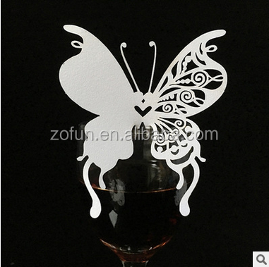 laser cutting butterfly paper cup card for party decoration