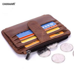 Russian Men Vintage Short ID Card Holder Coin Money Travel Genuine Leather Wallet
