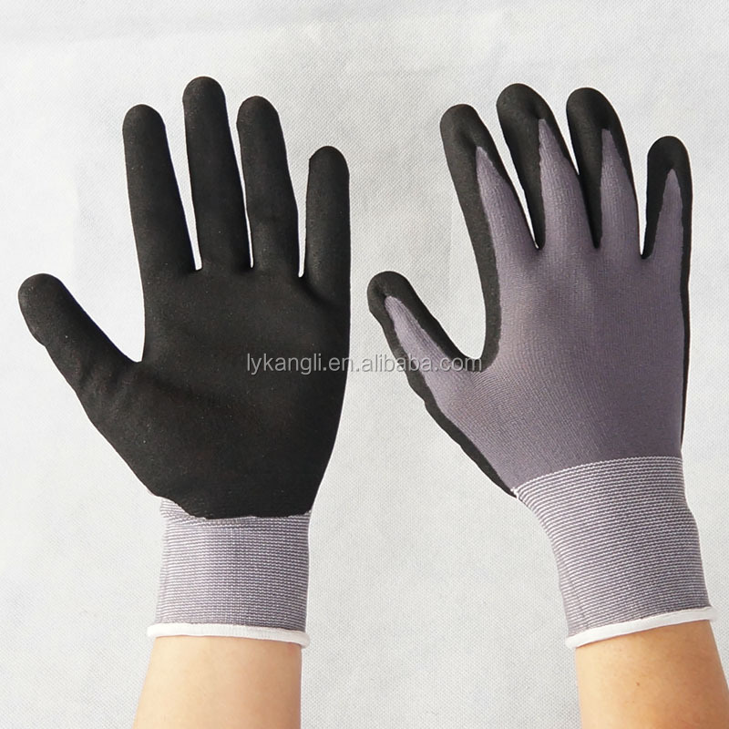 NBR Gloves 15 gauge spandex knitted black nitrile coated gloves