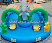 Cheer Amusement Airtight Inflatable Dolphin Water Play Pool popping beach inflatable