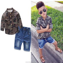 2018 autumn child clothes kid suit baby boys clothing sets handsome camouflage shirt jeans 2 pieces