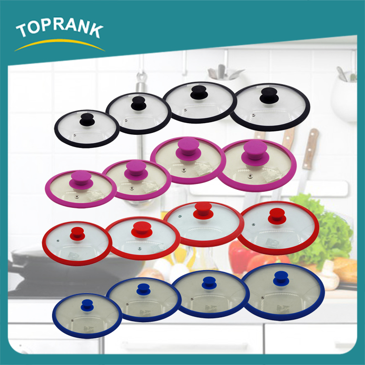 FDA approval multi size cooking pan lids silicone ring tempered glass pot cover