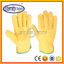Yellow high quality cow grain leather working safety glove