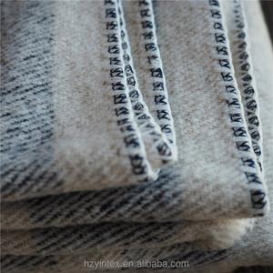 Wool Throw Plaid Navy Cream Stripe Wool Blanket