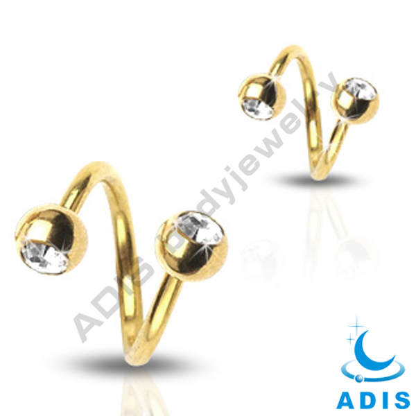 stainless steel wholesale fashion jeweled piercing twister bar