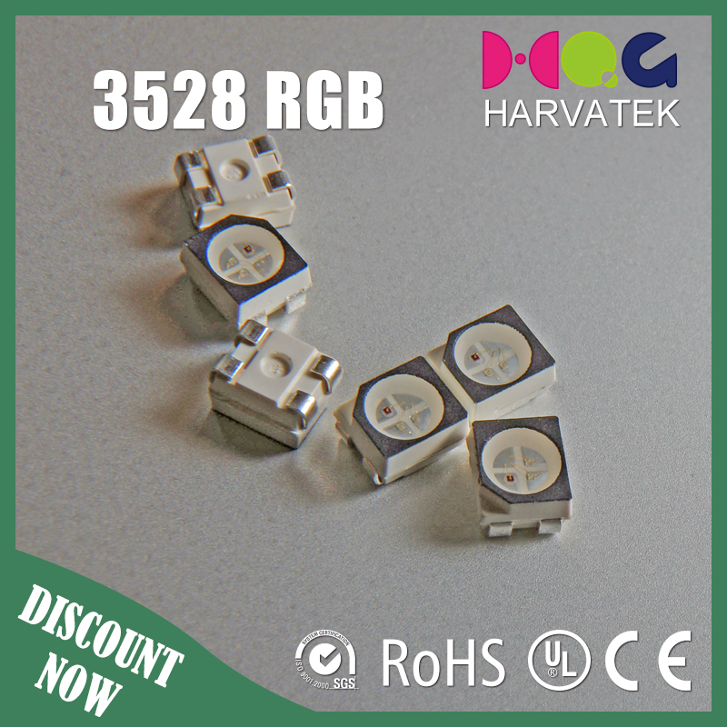 High quality ce rohs approved 1.9T sanan chip 90mA rgb 4-pin led smd 3528