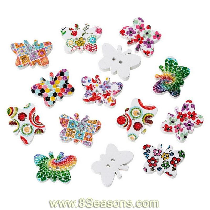 Butterfly Pattern Mixed Two Holes Wood Sewing Buttons