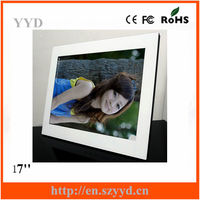 "Popular acrylic 17 "" suspension type digital photo frame factory supply directly with CE, ROHS ,FCC certificate MP4 player"