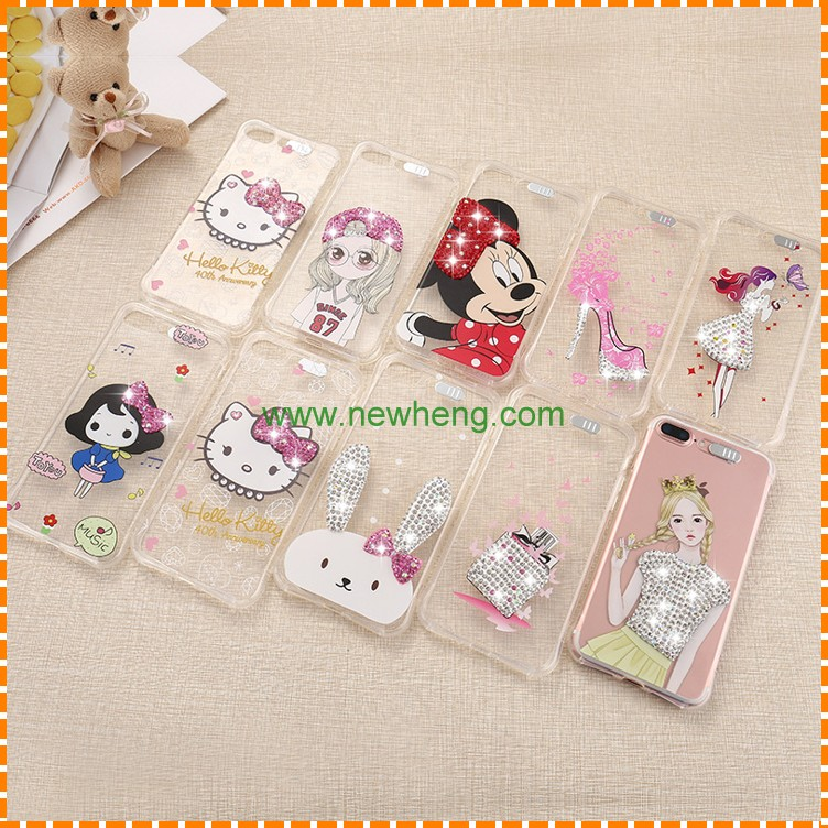 New Style Cartoon pattern Incoming Call Flash Light Luminous Tpu+Pc Transparent Phone Case For iPhone 7