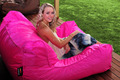 HOT PINK - Swimming pool side bean bag chair, 2 room seat Extra wide waterproof beanbag sofa saet