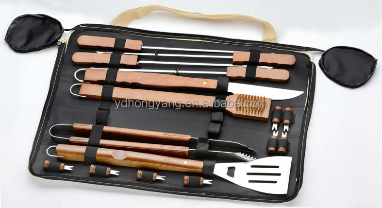 hight quality black color wooden handle 3pcs bbq grill tool set