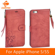 CORNMI Leather Flip Vintage Phone Cases for Apple iPhone 5S Wallet Case Card Stand Housing