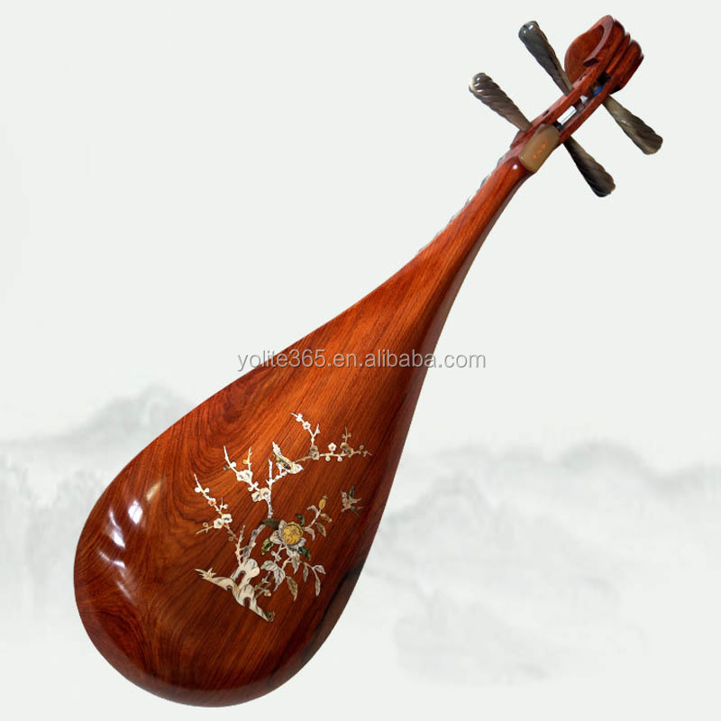 handmade shell carving Chinese lute classic musical instrument