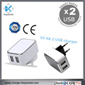 20w 5V 4A 2-port Accessory Usb Wall Charger For Mobile Phone