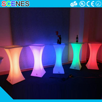 Protable outdoor rechargeable led light up glowing bar cocktail table design