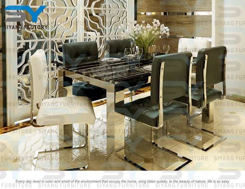 Foshan furniture restaurant tables chairs dinning table marble top stainless steel frame dining table CT031