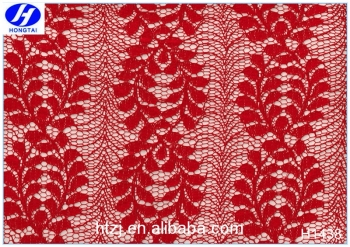 Hongtai best selling red twig/branch guipure crochet nylon spandex corded lace fabric