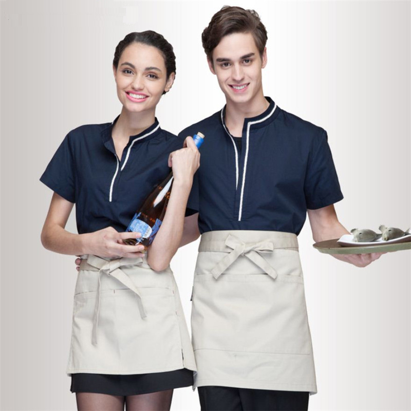 Restaurant Hotel Unisex Waiter Waitress Uniform Breathable Fabric Bar Staff Work Uniforms