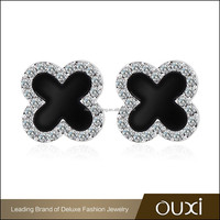 OUXI new design fancy jewelry four leaf clover shape black acrylic AAA cubia zirconia stud earring