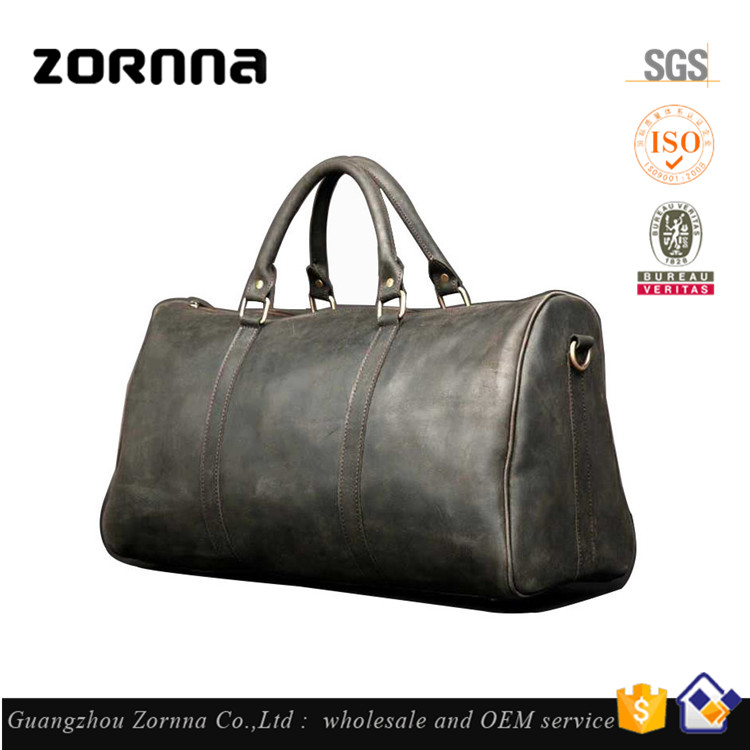 Guangzhou manufacturer large capacity genuine leather travel duffel shoulder weekend bags