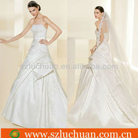 Hot sale embroidered Satin wedding dresses dubai