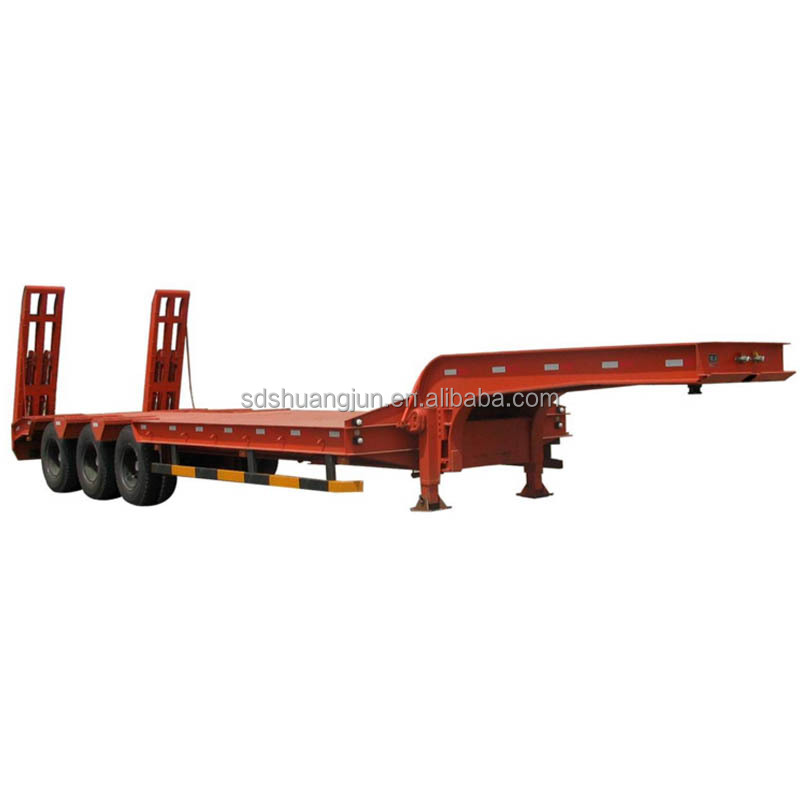 Rental services freight company factory price 3 axle 60 ton lowbed trailer