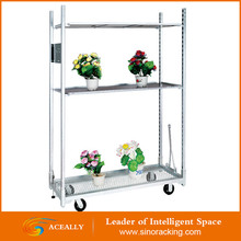 Galvanized Flower Trolley for Greenhouse, plant nursery tool cart