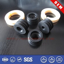 Custom mold black round adjustable threaded rubber feet
