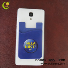 Custom logo Silicone Phone Card Holder Phone Card Pouch Attach To The Back Of Smart Phone