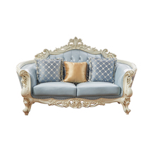 LM Classical Blue Leather Furniture Living Room Modern French Style Luxury Sofa