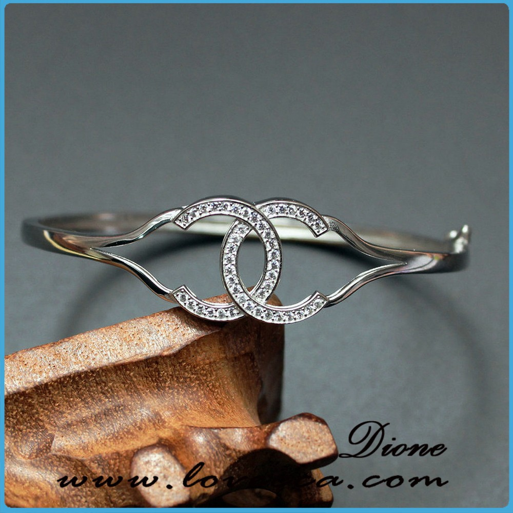 Women's 925 sterling silver expandable wire jewelry bangle bracelet