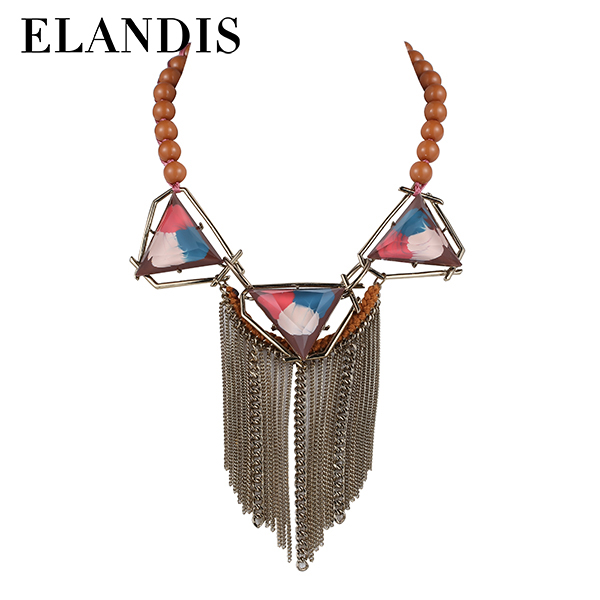 E-ELANDIS hot new design Acrylic beads Tassel Necklace Long thin alloy chain fashion necklace NL13822