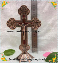 St Benedict Standing Crucifix ,red copper alloy religious Juses metal standing crucifix, decoration catholic cross