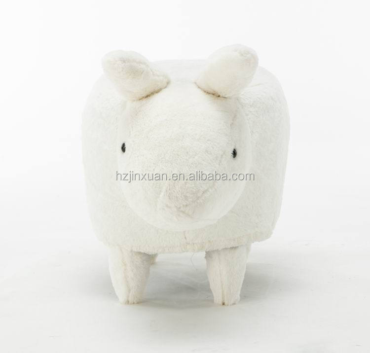 JX1382 white fur or other all color fur leather cover oem produce rabbit shape shoes changing ottoma cork mushroom stool