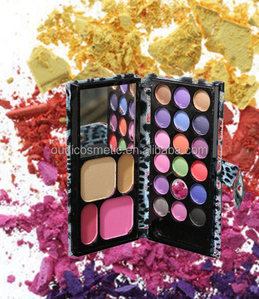 Wallet shape eyeshadow waterproof eyeshadow palette small make up kit with mirror ,pressed powder and blush