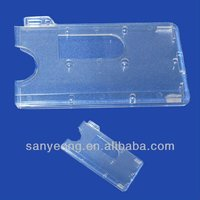 #PHV9-Clear Plastic ID card holder, side hold Rigid ID badge holder