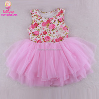 Pink floral Cotton Baby frock Kid Children's Dress ruffled Chiffon tutu dress Baby newborn knee-length sleeveless puff dress