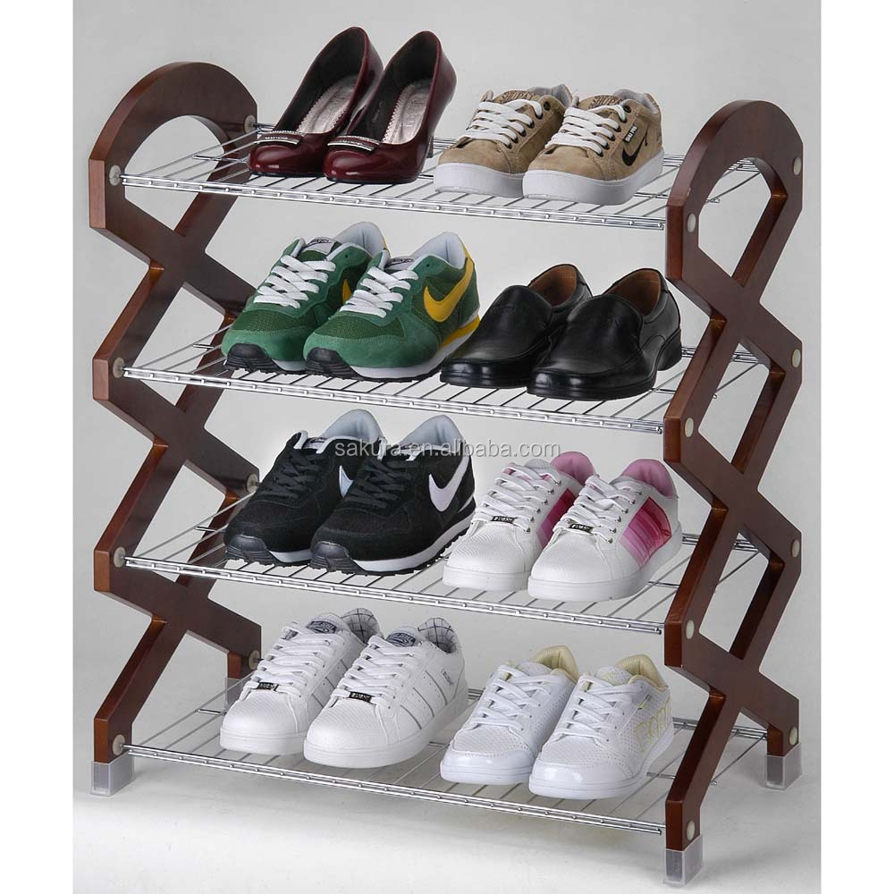 4-TIER METAL WIRE WITH WOODEN STANDER SHOES RACK,STORAGE RACK, 3 TIER SHOES SHELF