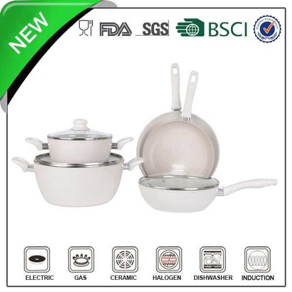 8pcs Nonstick white ceramic cookware set safe touch