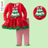 Hot sale!!cotton children clothing fashion Baby girl's set tops+striped leggings 2PCS baby girls fall suit Retail