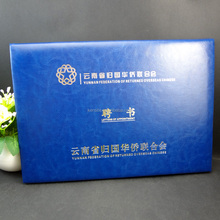 top quality blue thermo pu leather A4 Diploma Leather Certificate Holder