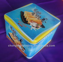 square egg roll tin box