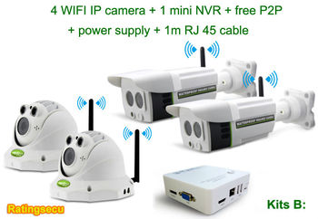 2014 Hot selling H.264 4ch NVR kit of 720P WIFI HD IP poe camera NVR kits for home security ( Kit B)