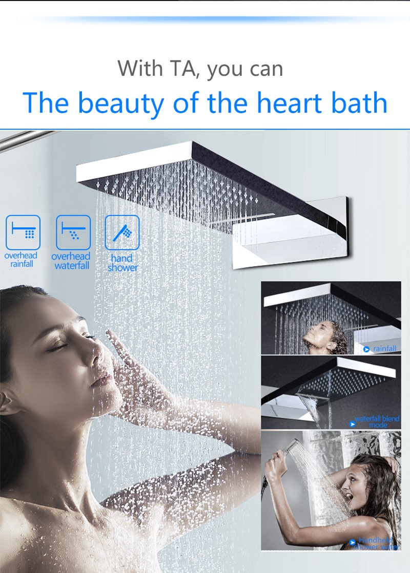 Modern 3 function waterfall and rain shower set conceal shower with high flow shower diverter