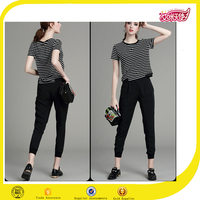 Black strip short sleeve blouse and pants wholesale t shirts clothing designers outfit